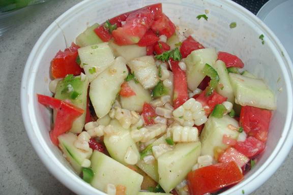 Corn, Tomato & Cucumber Salad. Photo by BakinBaby