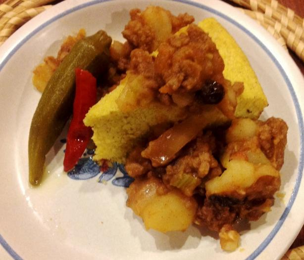 Picadillo (Hash) at the Flores Family's El Charro Cafe. Photo by Miss Fannie