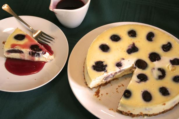 Plum and Orange Baked Cheesecake. Photo by On-the-Mark