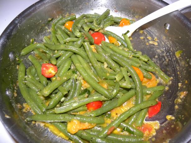 Green Beans with Cherry Tomatoes. Photo by Arichka