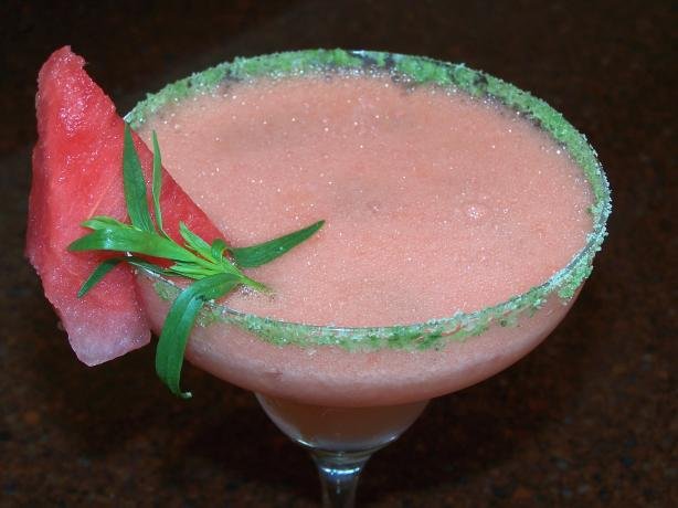 Frozen Watermelon Margarita With Tarragon-Salt Rim. Photo by Rita~