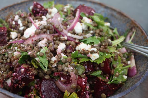 Lentil Salad With Baby Beets & Feta. Photo by Leggy Peggy