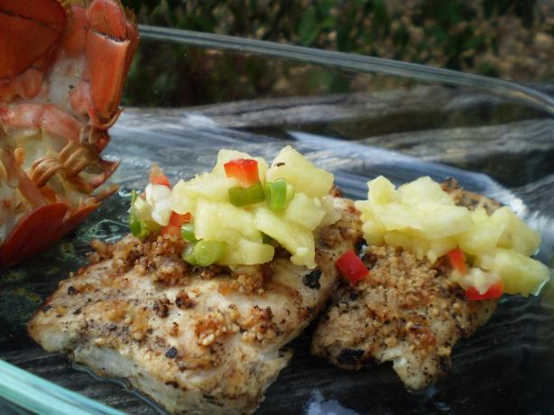 Grilled Mahi Mahi W. Honey-Macadamia Crust and Pineapple-Ginger. Photo by breezermom
