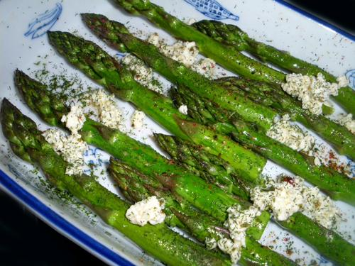 Roasted Asparagus Sprinkled With Feta, Olive Oil and Dill. Photo by Bergy