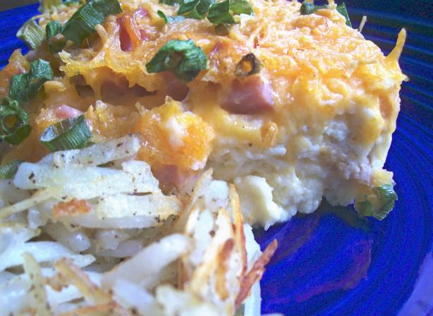 Make Ahead Ham and Cheddar Egg Dish. Photo by Crafty Lady 13