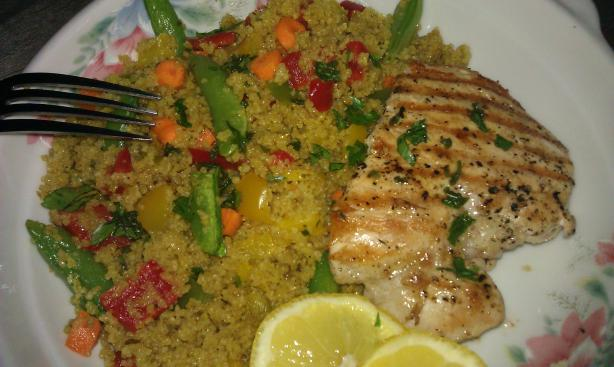 Grilled Lemon Chicken and Moroccan Couscous Salad. Photo by threeovens