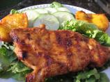 Grilled fruity balsamic chicken with cilantro salad.
