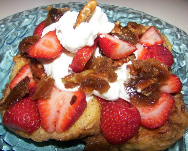 French Toast With Caramelized Pecans, Strawberries and Cream. Photo by Baby Kato