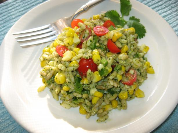 Roasted Corn & Orzo Salad With Cilantro Pesto. Photo by averybird