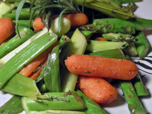Roasted Asparagus, Baby Carrots, and Scallions. Photo by justcallmetoni