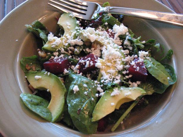 Beet, Avocado and Goat Cheese Salad. Photo by hollyfrolly