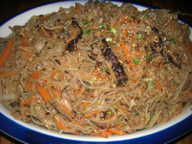 Chapchae (Noodles With Beef and Mixed Vegetables). Photo by monmamoni