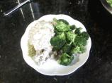 Chicken Parmesan with Mushroom Rosemary Sauce and Steamed Broccoli