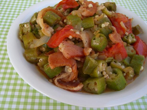Okra, Tomatoes, & Bacon. Photo by Chef*Lee