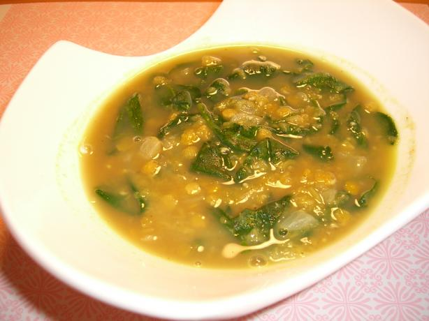 Curried Red Lentil and Spinach Soup. Photo by Chef*Lee