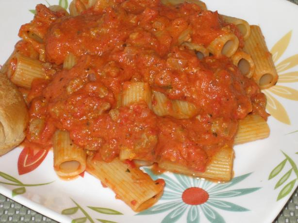 Pasta With Pink Vodka Sauce and Sausage. Photo by FrenchBunny