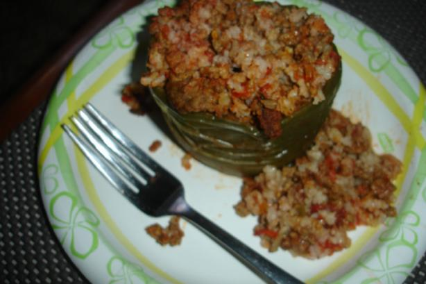 Crock Pot  Spanish Stuffed Green Bell Peppers. Photo by BakinBaby