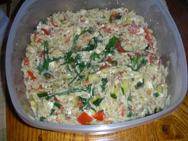 Warm Orzo Salad. Photo by JackieOhNo!