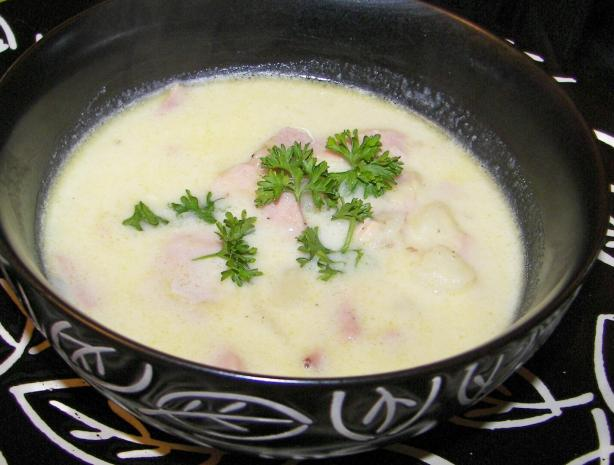 Potato, Leek & Ham Soup. Photo by Baby Kato