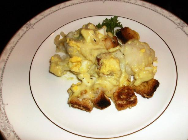 Quick and Easy, Lightly Curried Cauliflower and Egg Cheese. Photo by mersaydees
