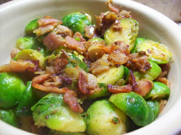 Yummy Brussels Sprouts With Bacon &amp; Onion. Photo by Chef shapeweaver &copy;