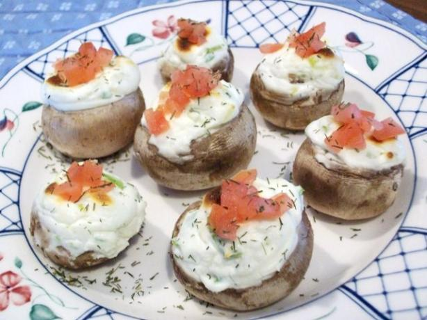 Kathy's Cheesy Onion Stuffed Mushrooms. Photo by 2Bleu