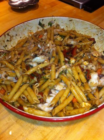 Mediterranean Cod With Tossed Penne Pasta. Photo by Victor Lund