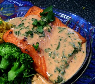 In a Heartbeat Atlantic Salmon With Red Curry Coconut Sauce. Photo by Mikekey
