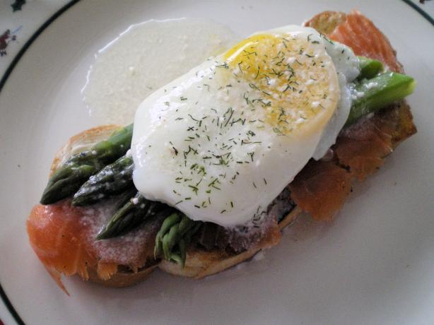 Smoked Salmon With Poached Eggs and Asparagus. Photo by Julie B's Hive