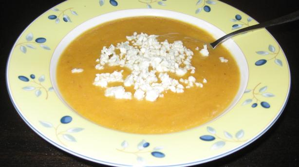 Roasted Pear-Butternut Soup With Crumbled Blue Cheese. Photo by Rachel Potachel