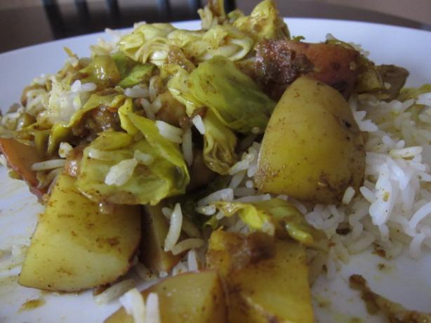 Chickpea, Potato, and Cabbage Curry. Photo by Dr. Jenny