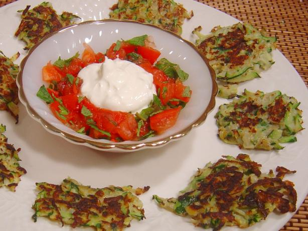 Zucchini and Sumac Fritters With Tomato and Mint Salsa. Photo by :(