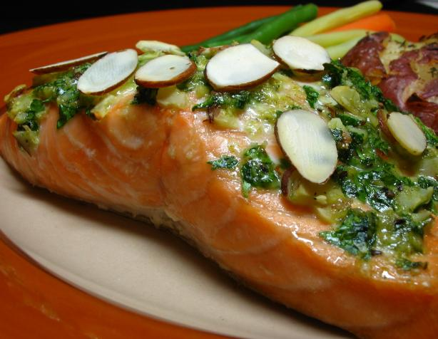 Salmon With Cilantro Pesto. Photo by Breezytoo