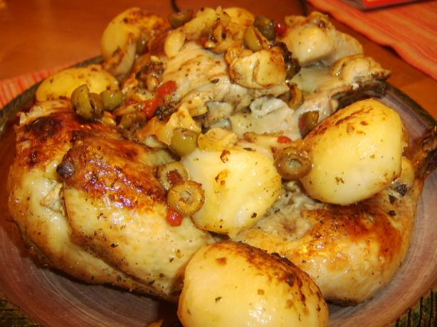 Kittencal&#39;s Greek Roasted Lemon-Garlic Chicken With Potatoes. Photo by LifeIsGood