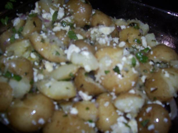 Crushed New Potatoes With Mint & Feta. Photo by Elaniemay