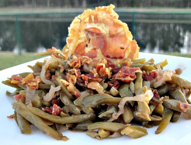 Balsamic Pancetta Green Beans With Shallots. Photo by diner524