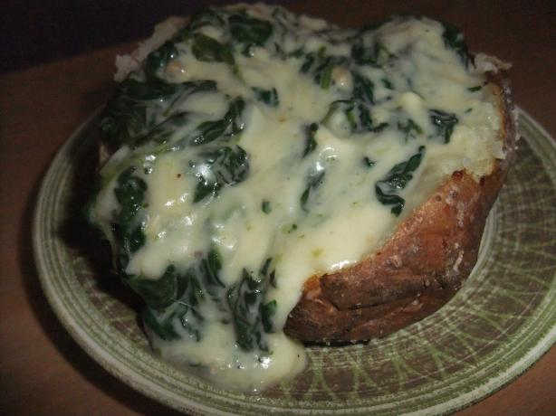 Lighter Parmesan Spinach-Stuffed Potatoes With Vegan Variation. Photo by SweetySJD