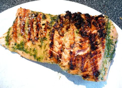 Grilled Salmon With Basil Oil. Photo by Mikekey