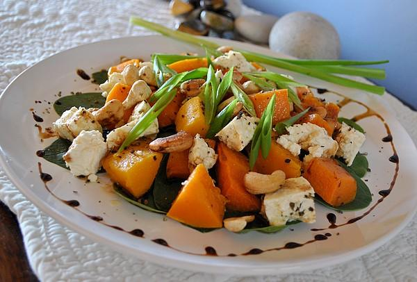Butternut Pumpkin (Squash), Roasted Hazelnut and Feta Salad. Photo by Zurie