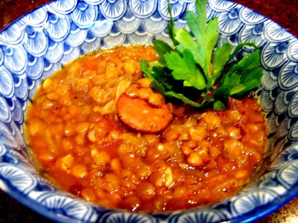 Lentil Tomato & Chorizo Soup. Photo by Rita~