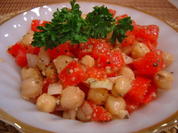 Tomato, Vidalia Onion, & Chickpea Salad. Photo by :(