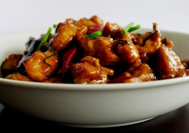 Smoky Hot Chicken Stir-Fried With Dried Red Chillies and Green G. Photo by AmandaInOz