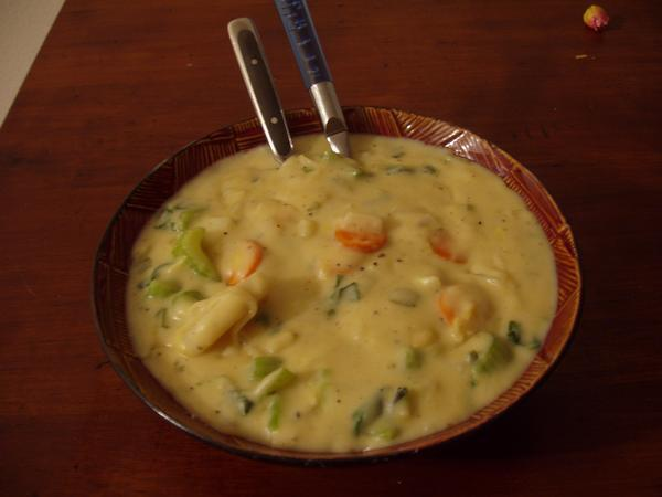 Cream of Fresh Vegetable Soup (Vegetarian). Photo by AriaDraconfly