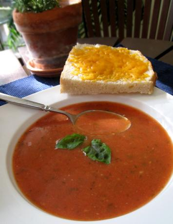 Homemade Tomato-Basil Soup with Cheese Toasts. Photo by Caroline Cooks