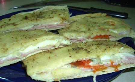 Filled Focaccia With Ham and Melted Fontina. Photo by Karen Elizabeth