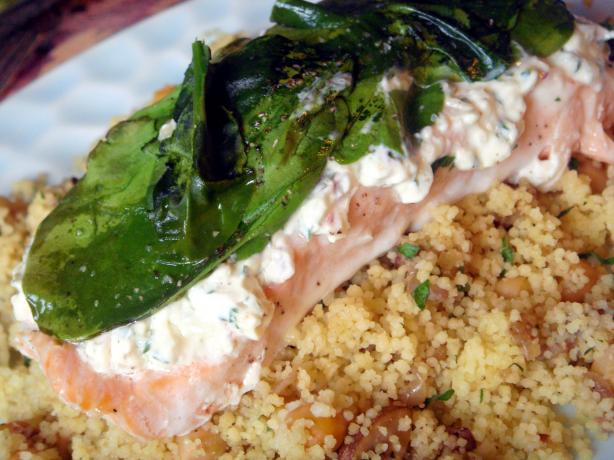 Salmon With Cream Cheese, Spinach & Garlic. Photo by Lori Mama