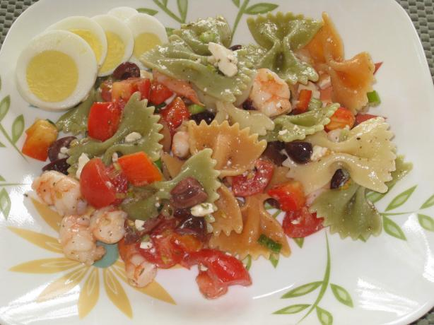 Greek Pasta Salad with Shrimp & Olives. Photo by FrenchBunny
