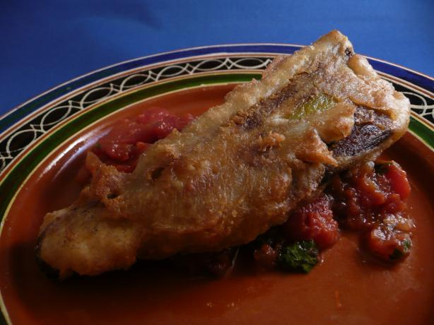 Beer Battered Chiles Rellenos With Warm Chipotle Salsa. Photo by cookiedog