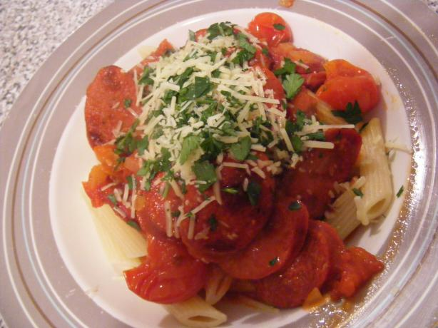 Rigatoni With Chorizo and Tomato. Photo by Sara 76