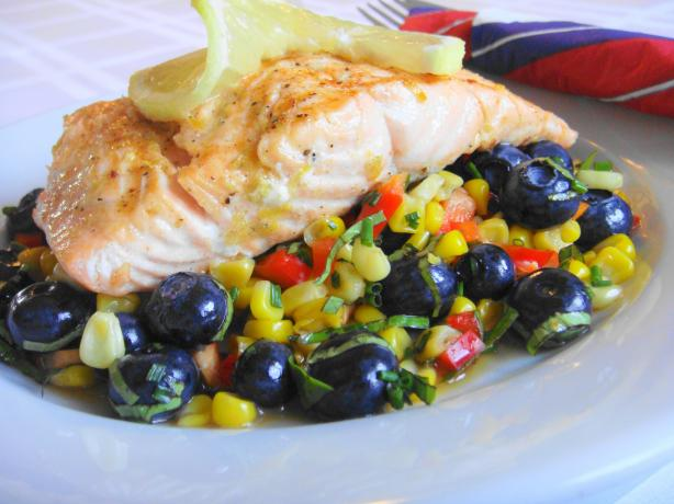 Lemon Grilled Salmon With Corn Salad. Photo by Lori Mama